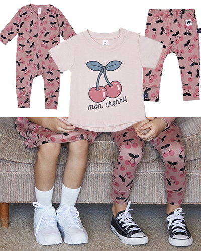 Huxbaby fashions featuring the trendy cherry print